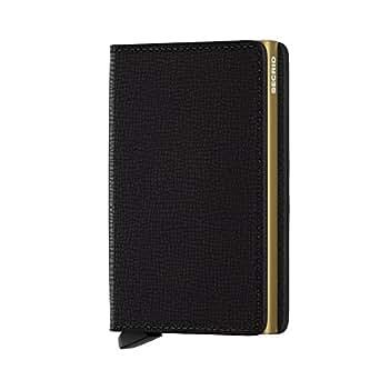 Secrid Slim Wallet Genuine Black Leather RFID Safe Card Case for Max 12 Cards (Crisple Black Gold)
