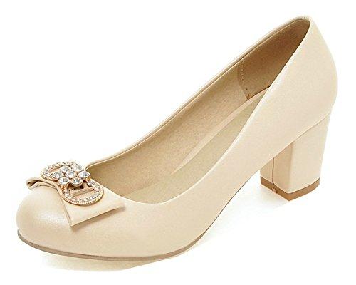 Aisun Womens Round Toe Pumps With Rhinestone - Professional Slip On Block Shoes - Low Cut Mid Heel Beige aDBv3