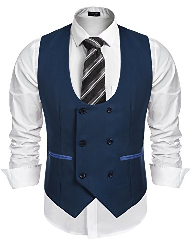 Coofandy Mens Top Sleeveless Slim Fit Suit Vest Skinny Dress Vests Waistcoat Blue - For Men Sleeveless Suits