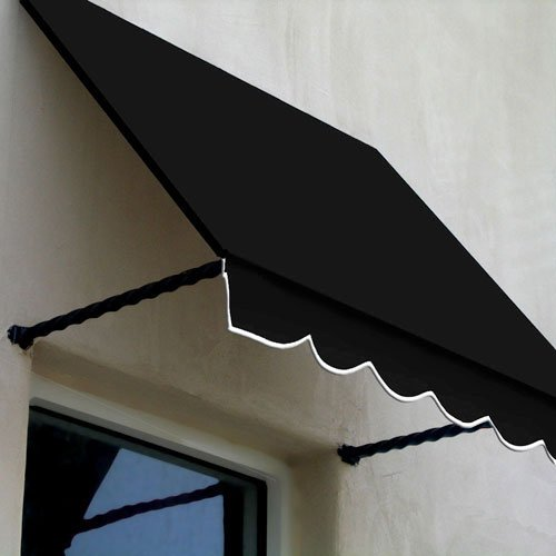 Awntech 5-Feet Santa Fe Twisted Rope Arm Window/Entry Awning, 56-Inch Height by 36-Inch Diameter, Black (Designer Window Awning)