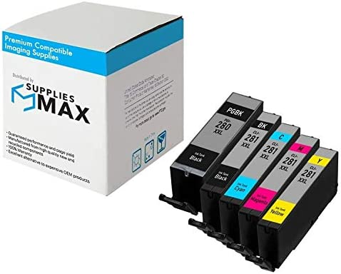 PGI-280XXL//CLI-281XXL 2021C007 SuppliesMAX Compatible Replacement for Canon PIXMA TR-7520//8520//TS-6120//8120//9120//9521 Super High Yield Inkjet Combo Pack 2-BK//1-C//M//Y