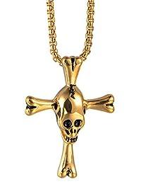 Kamellusone Men Hip Hop Religion Titanium Steel Skull Cross Pendant Chain Necklace