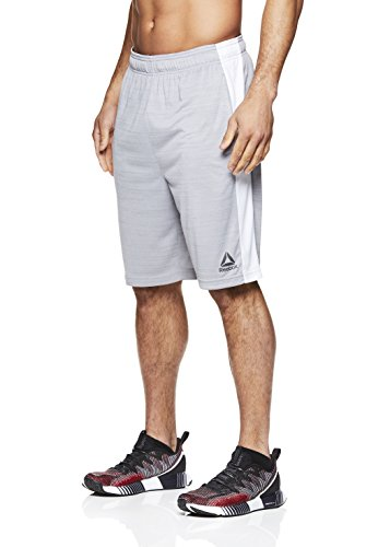 Reebok Men's Drawstring Shorts - Athletic Running & Workout Short - Sleet Heather McGreg, Medium ()