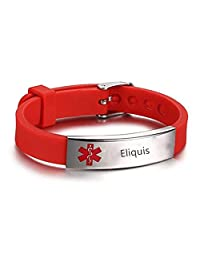 LF Mens Womens Kids Stainless Steel Silicone Personalized ICE Medical Alert Bracelet,Free Engraved Customized Adjustable Rubber Medical ID Bracelets Sos Emergency for Teen,Adult,Child