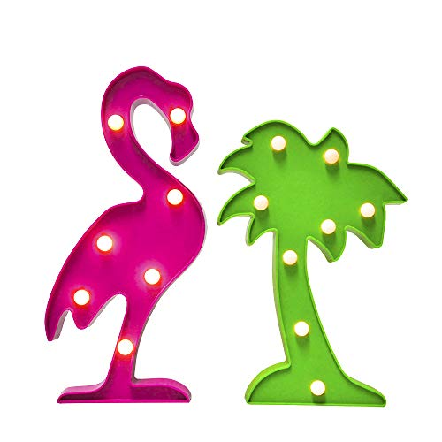 AceList Hawaiian Luau Party Supplies Flamingos Palm Trees Sign Light for Tropical Themed Party Decoration Birthday Bedroom Wall Decor Table Centerpieces -