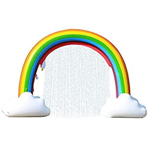 LANGXUN Giant Inflatable Rainbow Sprinkler Arch, Outdoor Summer Water Toys for Kids