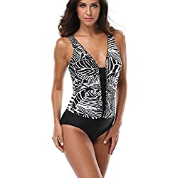 928dc660e08 Attraco Women s Ruched Front Sexy U Back Floral One Piece Swimsuit Swimwear  8