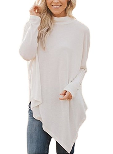 Women's Casual Cotton Long sleeve Handkerchief Hem Tunic Junior Teen Girl Loose Fitted Blouses and Shirts (White L)