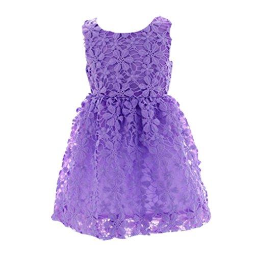 Mingao Kids Toddler Little Girls' Pure Lace Princess Dress Skirt Purple 2-3 (Lace Dress For Toddler Girl)