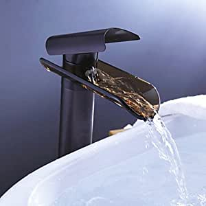 Oil Rubbed Bronze Waterfall Glass Spout Bathroom Sink Faucet