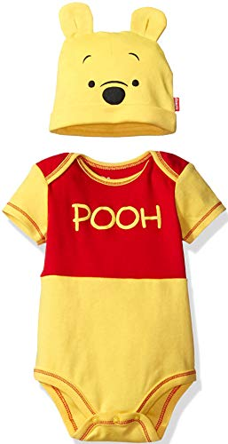 Soft Winnie Costume The Pooh - Disney Winnie The Pooh Baby Boys Bodysuit with Hat Set, Yellow Newborn