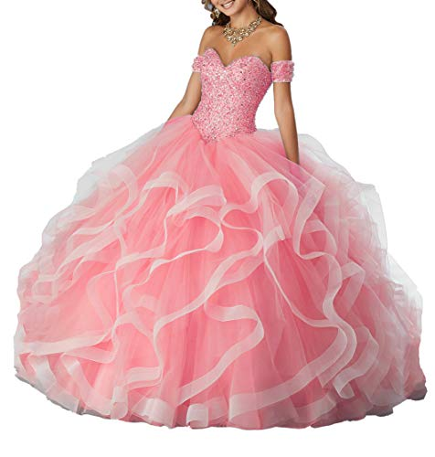 Yisha Bello Women's Off The Shoulder Crystal Beaded Organza Ruffles Prom Ball Gowns Sweetheart Quinceanera Dresses 20w Hot Pink