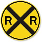 SmartSign MUTCD # W10-1 3M High Intensity Grade Reflective Sign, ''Railroad crossing'', 30'' diameter circle, Black on Yellow