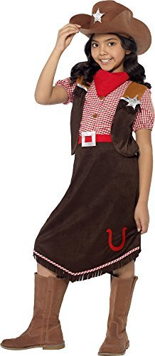 Smiffy's Children's Deluxe Cowgirl Costume, Top, Skirt, Hat and Necktie, Color: Brown, 45249 (Childs Deluxe Cowgirl Costume)