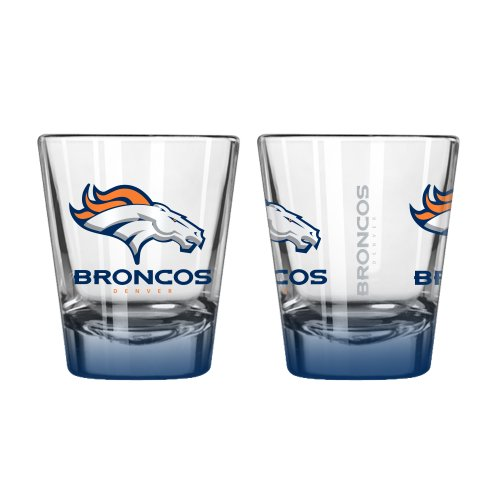 NFL Denver Broncos Elite Shot Glass, 2-ounce, 2-Pack