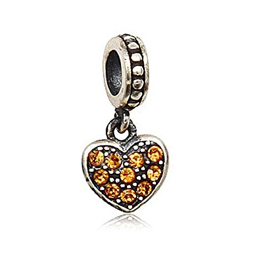 Everbling Love Heart Dangle November Birthstone 925 Sterling Silver Bead
