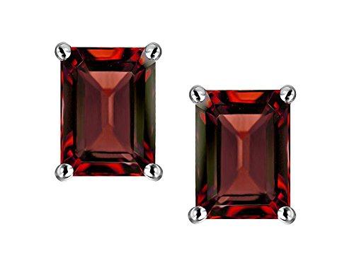 Star K Emerald Cut 7x5mm Genuine Garnet Earrings Studs 14 kt White Gold