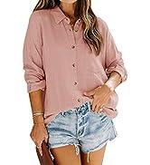 Womens Button Down Work Blouse Long Sleeve Fall Casual Lightweight Loose Fit Shirt Tops