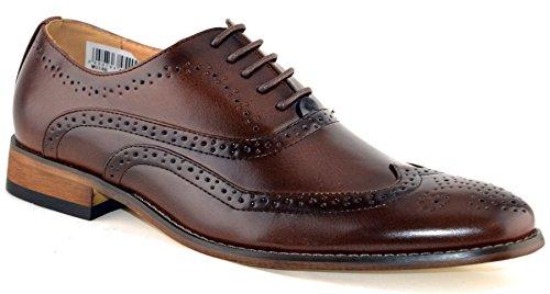 Goor Hombres Leather Uniform Dress Zapatos 9 Brown