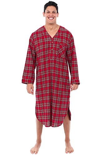 Alexander Del Rossa Mens Flannel Nightshirt, Long Lightweight Cotton Kaftan, Large Tiny Red Plaid (A0548P72LG)