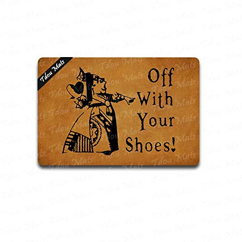 Tdou Off with Your Shoes! Queen of Hearts Alice in Wonderland Custom Handpainted Funny Fandom Welcome Doormat Indoor/Outdoor Rubber Mat Non-Slip Doormat 23.6 by 15.7 Inch -