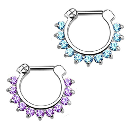 Brass Septum Clicker, Kredy 16G Horseshoe Circular Barbell Septum Jewelry Ring Nose Rings Daith Septum Clicker Jewelry with CZ Gems for Women Girls - 2 PCS Purple / (Circular Cubic Zirconia Earrings)