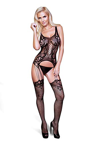 Yelete Killer Legs Women One Size/Plus Size Mini Dress Babydoll Teddy Garter - Keyhole Bodystocking