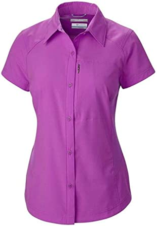 Columbia Silver Ridge Short Sleeve - Camisa/Camiseta para Hombre, Color Fucsia, Talla M