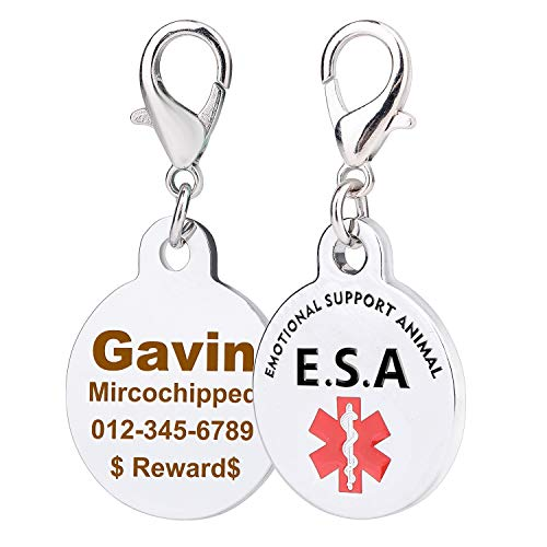 Personalized Emotional Support Animal(ESA) Tags with Red Medical Alter Symbol, Stainless Steel Custom Engraved Dog Tags,1.0 inch Round for Small Young Dogs