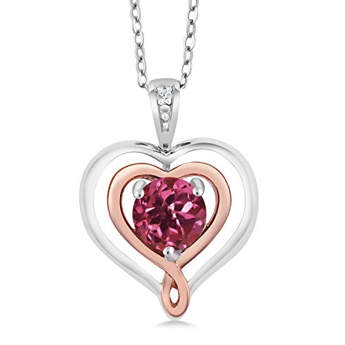 (Gem Stone King Tourmaline & Diamond Accent 925 Sterling Silver & 10K Rose Gold Heart Shape Pendant Necklace With 18 Inch Chain)