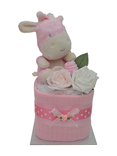 Cute Pink Giraffe Square Mini New Baby Girls Nappy Cake Baby Shower Gift Packaged to Perfection MSPGF
