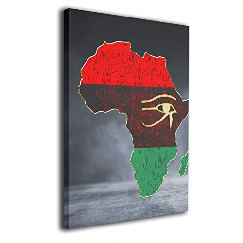 Arnold Glenn Horus Eye in Pan African Colored Africa Map -Photo Paintings Canvas Wall Art Prints Modern Home Decoration Giclee Artwork-Wood Frame Gallery Stretched 12