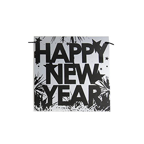 """Happy New Year Banners - Gold & Silver Background - With """"Happy New Year"""" Design - Festive Decor For New Year - Welcome NYE 2018 With Family & Friends"""