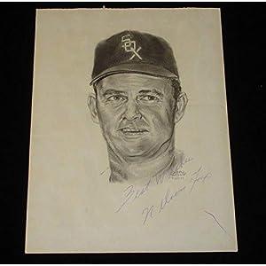 1969 Nelson Fox Chicago White Sox Autographed Original Artwork Autographed MLB Art