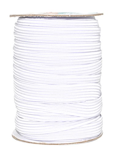 Mandala Crafts Flat Elastic Band, Braided Stretch Strap Cord Roll for Sewing and Crafting (1/2 Inch 12mm 20 Yards, White)
