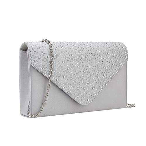 (Charming Tailor Elegant Evening Bag, Classic Clear Diamante Satin Clutch Purse for Wedding/Prom/Party (Silver))