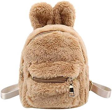 OneMoreT Mini sac à dos en fausse fourrure avec oreilles de lapin Sacs à main de forme de sac à dos marron clair