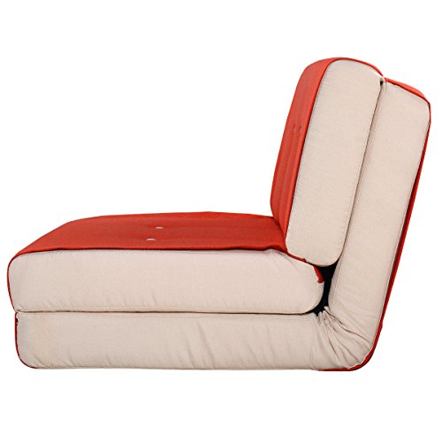 Fold Down Chair Flip Out Lounger Convertible Sleeper Bed Couch Game Dorm Orange by Tumsun (Image #2)