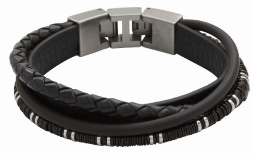 Fossil lederarmband damen schwarz  Fossil Herren-Armband Leder schwarz 19,5(+1,5) cm JF86555040 ...