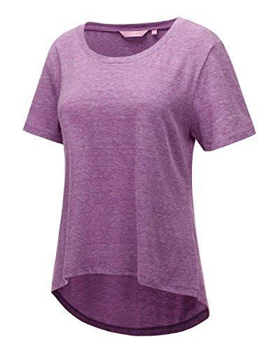 REGNA X Women's short sleeve high-low hem cotton Active Shirt Purple XXL
