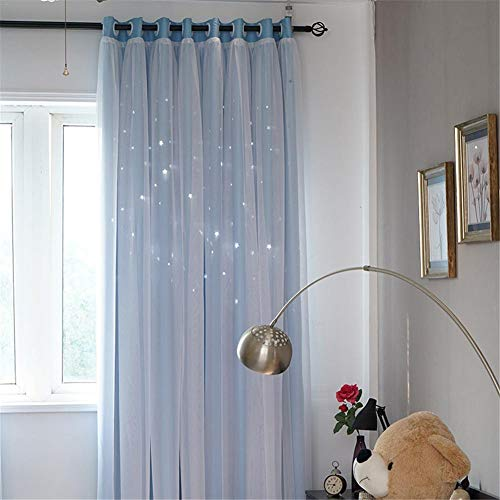 Onepants – Cortinas de gasa de doble capa con estrellas estrelladas para dormitorio, estilo nórdico, romántico y…