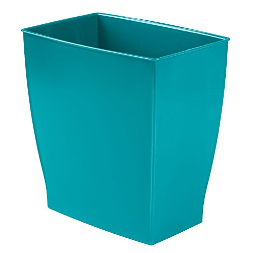 InterDesign Wastebasket Trash Bathroom – Teal Mono Rectang