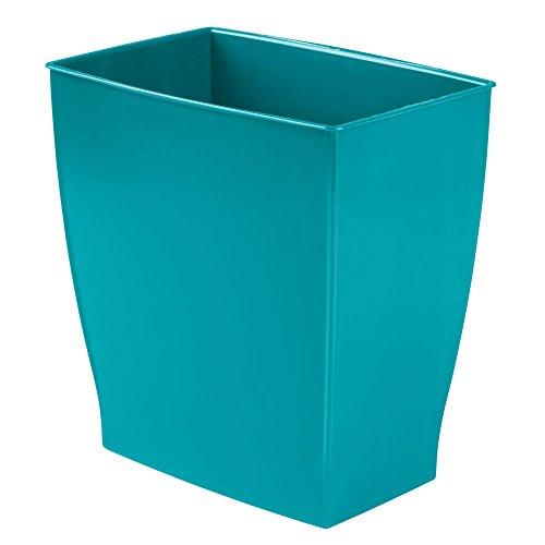 (InterDesign Spa Rectangular Trash Can, Waste Basket Garbage Can for Bathroom, Bedroom, Home Office, Dorm, College, 2.5 Gallon, Teal Blue)