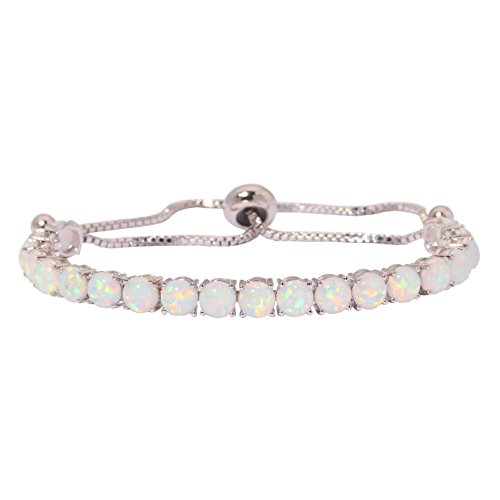 CiNily Adjustable Silver Plated Created White Opal Tennis Bracelet - Fashion Jewelry Gifts for Women 4.3-10.6