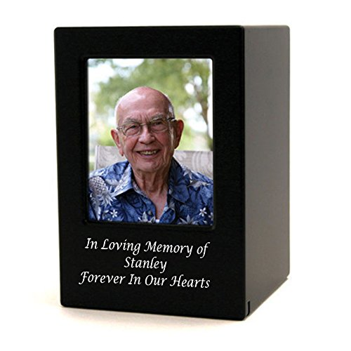 Large Wood Urn - Photo Frame Wood Memorial Urn For Ashes - Large - Holds Up To 200 Cubic Inches of Ashes - Black Cremation Urn for Human - Custom Engraving Included