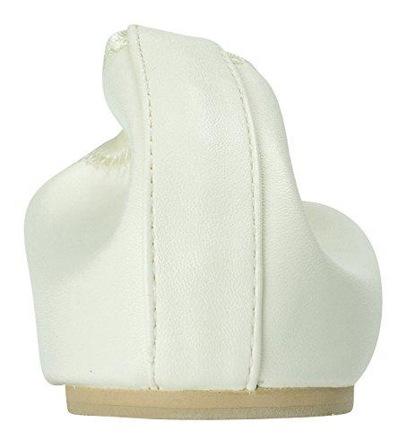 Off White Vegan Square Womens Sweet Flats Toe Holic On Ballet AnnaKastle Slip Leather Shoes tw7TxSqO