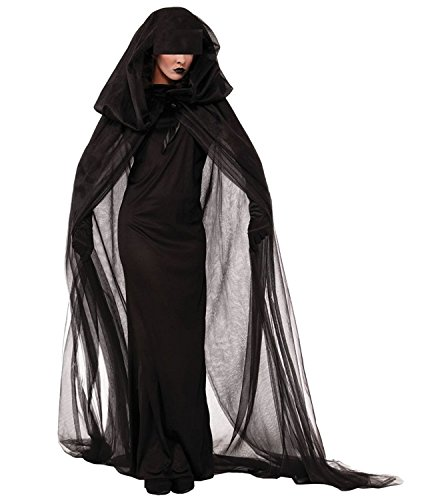 Hihihappy Fashion Women Halloween Phantom Ghost Cosplay Costume Witch Dress Make Up Party Dress as pictureXX-Large]()