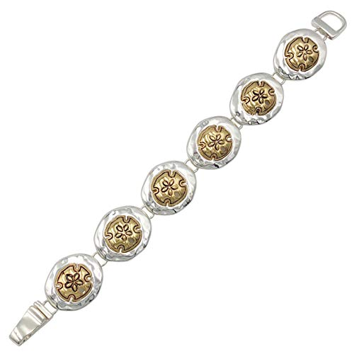 Gypsy Jewels Sealife Nautical Beach Theme Magnetic Clasp Link Bracelet (Sand - Dolphin Tone Vintage Gold