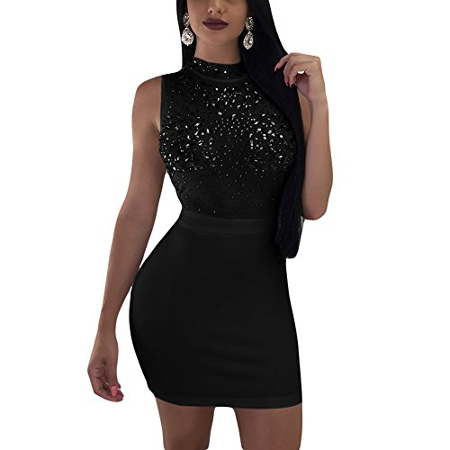 Kafiloe Womens Sexy Sleeveless Rhinestone Mesh See Through Bodycon Club Short Mini Dress Party Clubwear Black M