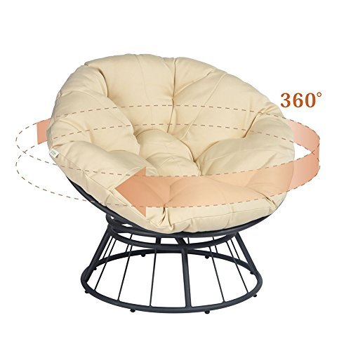 Deep Moon Chair Swivel Glider Lounge Sedia a Dondolo ATR Deluxe 360/papasan Girevole con Cuscino Morbido Cachi Tessuto Twill Solido Arancione Cuscino del Sedile da Esterni
